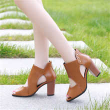 Summer Thick with Fish Head Sandals Sexy Heels Women High Heel Thick with Breathable Shoes Waterproof Platform Female Sandals women shoes female model t station catwalk sexy crystal transparent shoes 15cm high heels waterproof head fish head sandals