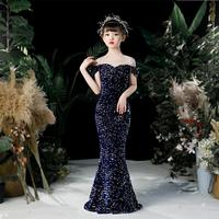 Sexy sequins stitching evening dress Kids Catwalk Mermaid princess dress birthday party dress for girls vestidos Y3126