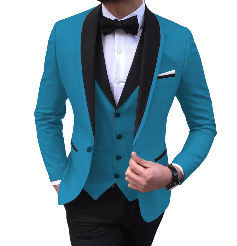 Men's Suits 3 Piece Leisure Black Color Shawl Lapel Groom Tuxedo Men Suits For Wedding (Jacket+Vest+Pants)