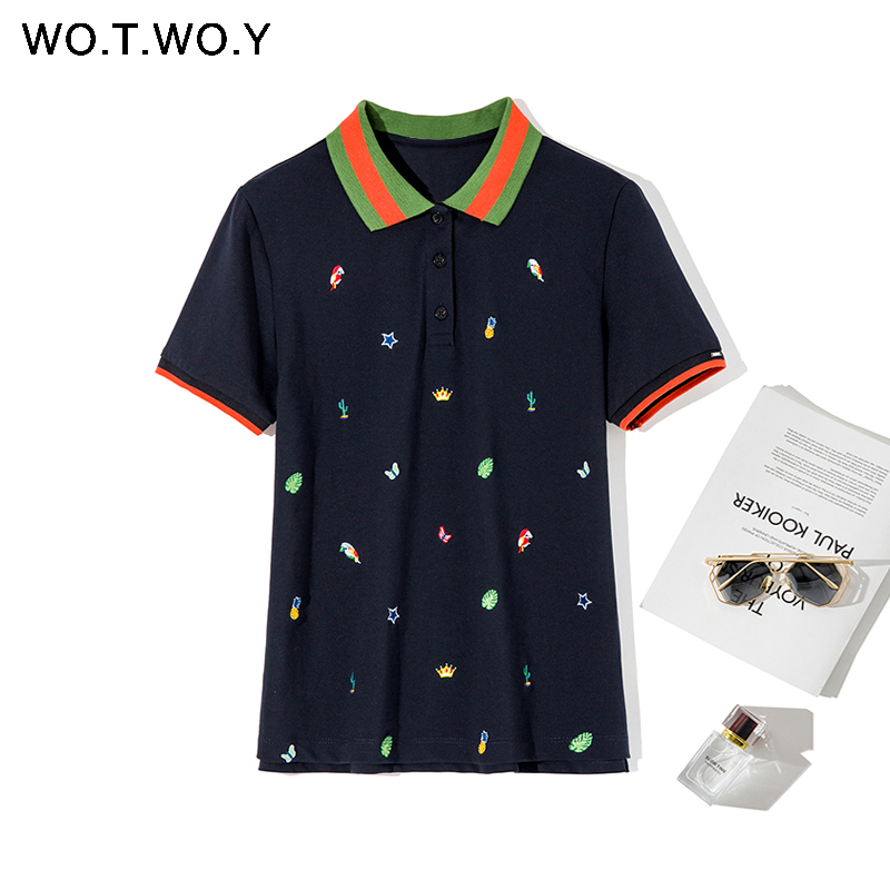 WOTWOY 2020 Spring Mature Cartoon Cotton Embroidered Polo Shirt Women Fashion Casual Plus Size Polo Shirt Woman Colourful Rib