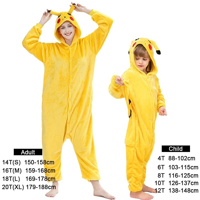 Kigurumi Children's Pajamas For Boys Girls Unicorn Pajamas Flannel Kids Stitch Pijamas Animal Sleepwear Winter Pikachu Onesies