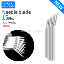 Free Shipping 50 pcs Permanent makeup blade For Manuel Pen 15 pin 2Row sector Needle Blade Embroidery Eyebrow Tattoo SuppliesC5