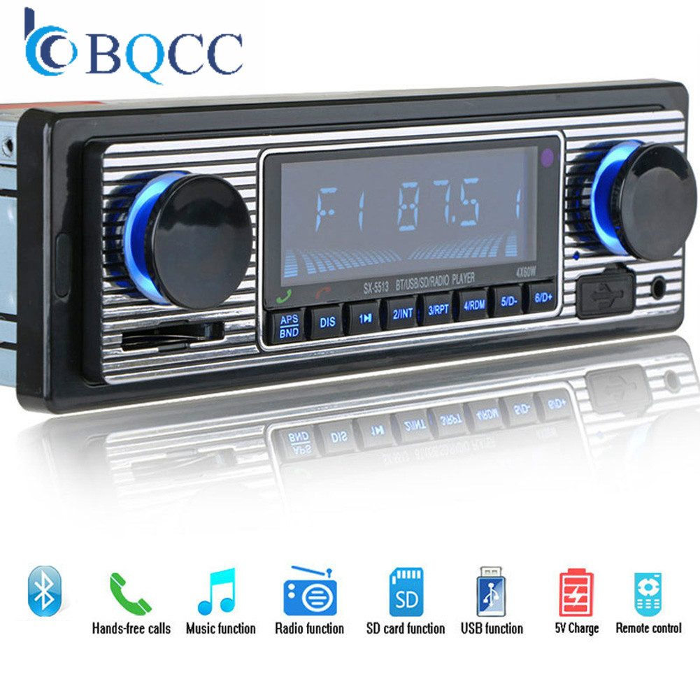Car MP3 Player FM Modulator Bluetooth LCD Display Music Vintage Audio USB Stereo Radio Aux Function Hands Free AUX