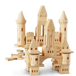 66/75 pces crianças grandes blocos de construção de madeira do castelo/crianças log construção e construção casa blocos meninas meninos presente