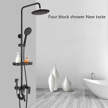 цена на Bathroom Shower Faucet Mixer Wall Mount 9 Rainfall Shower Set Mixer Tap Brass Tub Spout Bath Shower Mixers