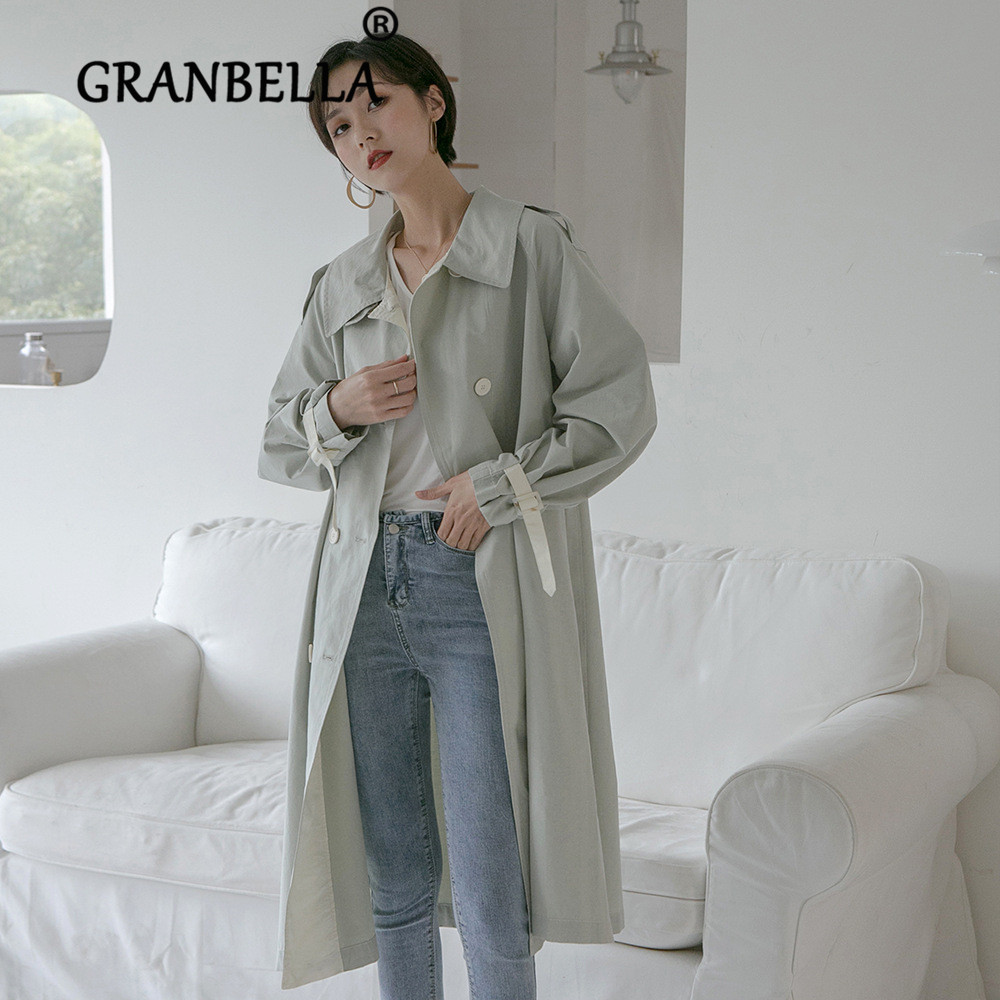 2019 Solid Color Double-breasted   Trench   Coat Chic Turn Down Collar Chic Women Windbreaker With Belt Loose