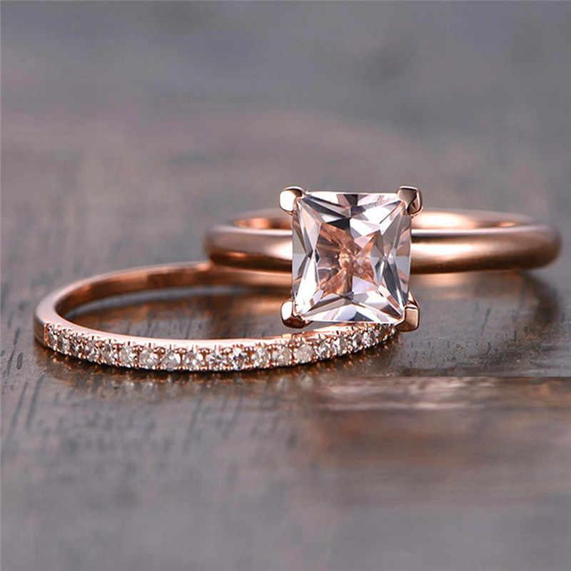 Conjunto de Cristal Moda de luxo Zircão Branco Anel De Pedra do Sexo Feminino Cor de Rosa de Ouro Anel de Casamento Promessa Amor Anéis de Noivado Para As Mulheres