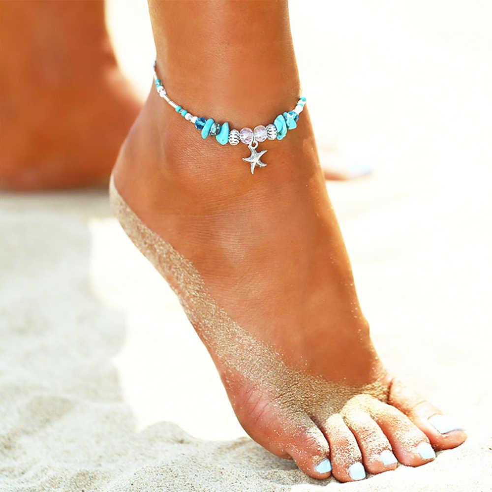 แฟชั่น Vintage จี้สำหรับผู้หญิงใหม่รองเท้าแตะฤดูร้อน Beach Foot Chain สร้อยข้อมือ Bohemian Anklets เครื่องประดับ