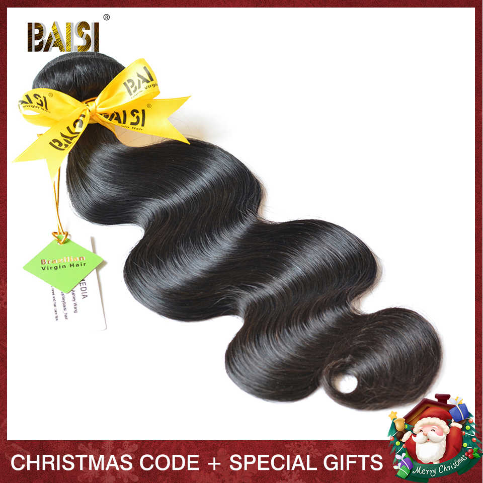 BAISI Human Hair 10A Brazilian Virgin Hair Weave Bundles 100% Unprocessed Brazilian Body Wave Bundles Hair Extensions