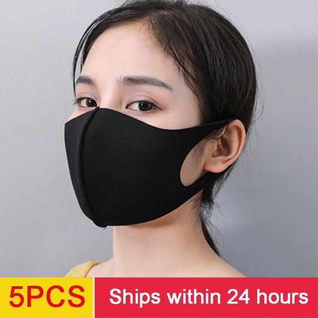 5PCS kpop mask  washable mask elastic mouth soft breathable face mask free size hot windproof 1