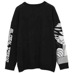 Мужской свитер в стиле хип-хоп Harajuku, винтажный трикотажный свитер в японском стиле ретро с аниме для девушек, Осенний хлопковый пуловер, 2020