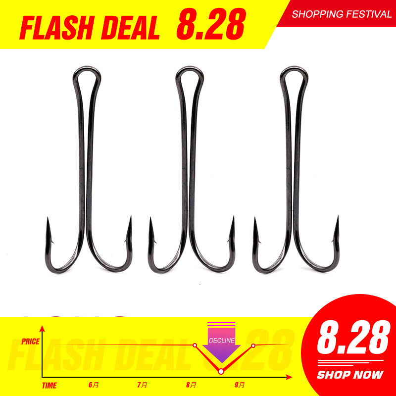 HuntHouse Fishing Soft Lure Double Winter Ice Fishing Double Fishing Hook For Worm Hook Soft Baits