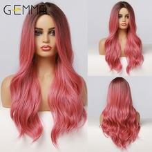 Gemma ombre черный розовый красный цвет натуральные волнистые
