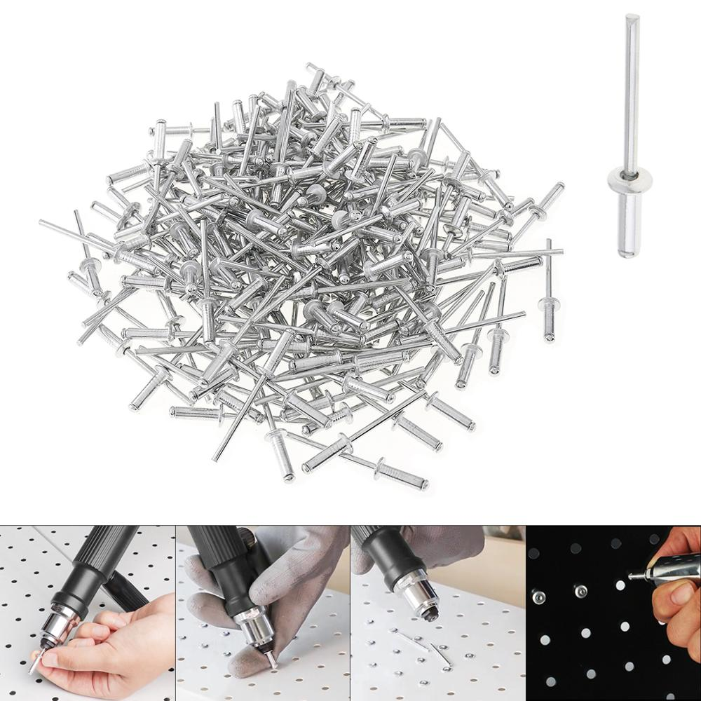 200pcs/lot M3.2 7mm 11mm 17mm Aluminium Rivet Gun Nail Pulling Riveting Nail Set With Mushroon Head For Furniture Car Aircraft