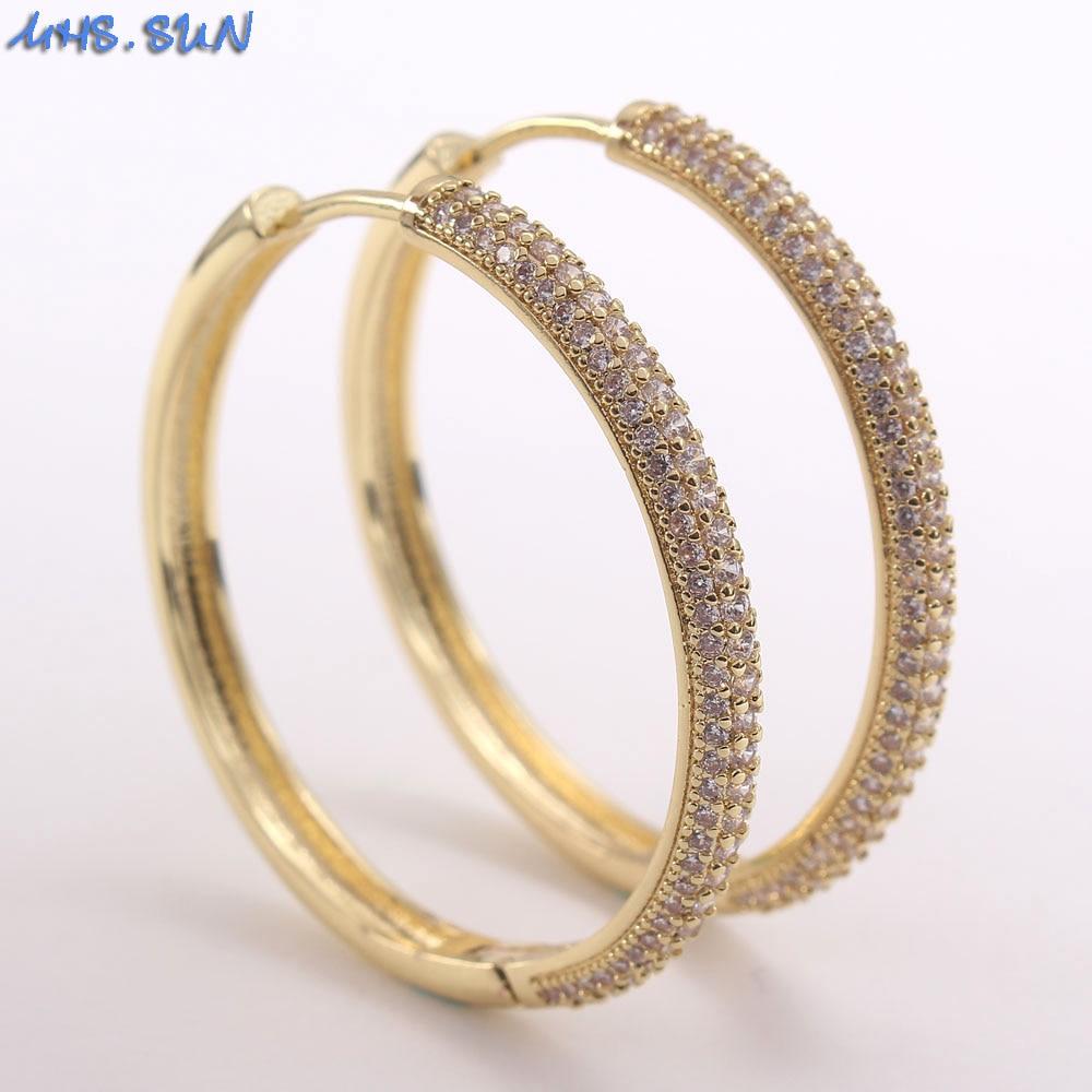 MHS.SUN Fashion women cubic zircon jewelry gold color big hoop earrings for...