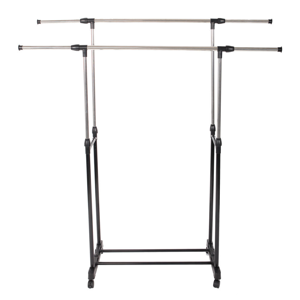 Simple Stretching Clothes Bedroom Hanger Movable Assembled Coat Rack Stand With Shoe Shelf Adjustable Clothing Closet Furniture