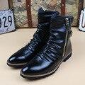 Размеры США 6-11; Черные официальные ботинки на молнии с острым носком; Мужские Зимние ботильоны в стиле милитари; Зимняя обувь