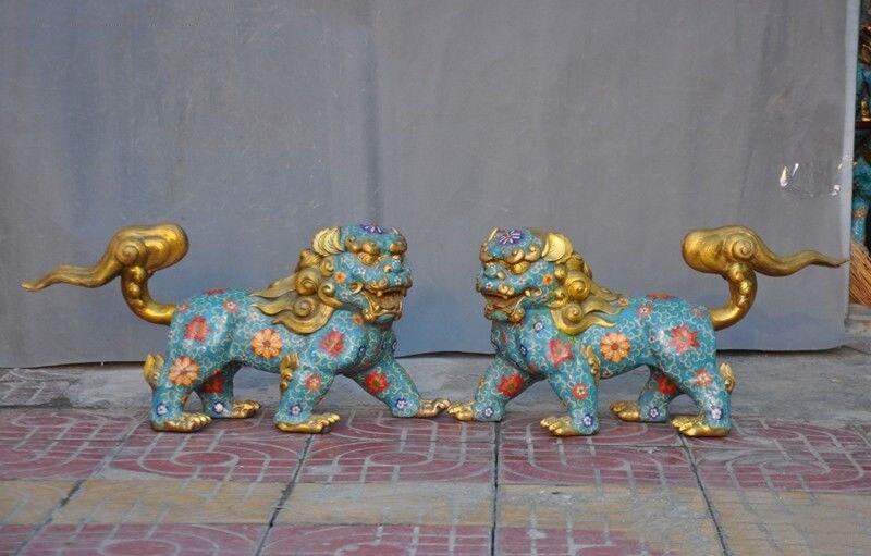 Christmas China Bronze Cloisonne Gilt Evil Door Guardian Fu Foo Dog Lion Beast Statue Pair New Year