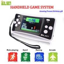 Wolsen sistemas de jogos portáteis de 2.5 polegadas, com jogos embutidos, 152 jogos para crianças, sistema de videogame de 8 bits