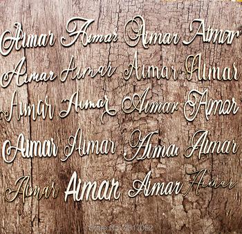 Wycinane laserowo nazwy niestandardowe ustawienia miejsca niestandardowe ustawienia stołu wycinanki z drewna drewniane ślubne dekoracje stołu nazwa własna Pla tanie i dobre opinie Almendro CN (pochodzenie)