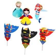 60Pcs Superman Batman Princess Woman Candy Lollipop Decoration Cards For Kids Birthday Party Supply