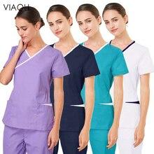 viaoli new wholesale Polyester cotton Solid color uniform beauty salon nursing uniform lab uniform pet shop Work Scrub uniform