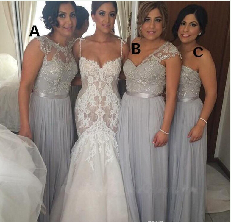 Hot 2015 Silver Chiffon Long Bridesmaid Dresses Cheap A-Line Beaded Lace Applique Formal Gowns Different Styles Maid of Honor