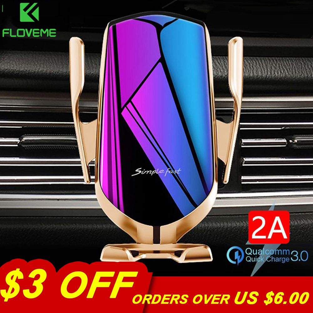 FLOVEME Automatic Clamping 10W Wireless Charger Car Holder Smart Infrared Sensor Qi GPS Air Vent Mount Mobile Phone Bracket Stan