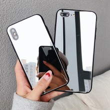 Luxury Full Mirror Silicone Case for iphone 7 8 6 6S Plus X 10 xr XS 11 Pro MAX Bling Bling Plating Soft TPU Drop proof Cover(China)
