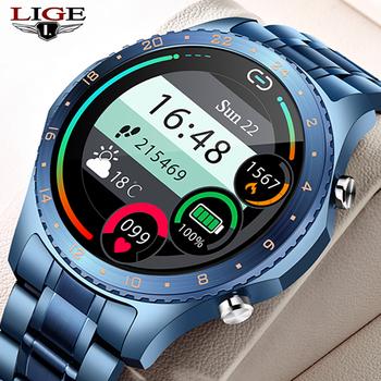 LIGE 2021 nowy inteligentny zegarek mężczyźni połączenie Bluetooth zegarek tętna krwi monitorowanie ciśnienia sport inteligentny zegarek mężczyźni dla Android IOS tanie i dobre opinie CN (pochodzenie) Na nadgarstek Zgodna ze wszystkimi 128 MB Krokomierz Rejestrator aktywności fizycznej Rejestrator snu