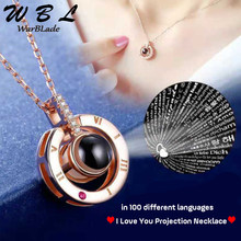 100 languages Hot 26 Styles Gold Silver Flower I love you Projection Pendant Necklace Romantic Love Memory Wedding Necklace(China)
