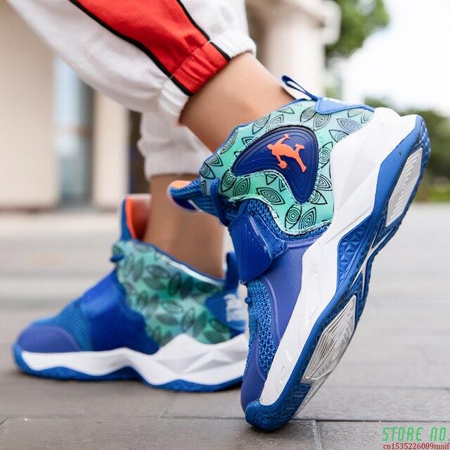 Zapatillas deportivas de baloncesto para niños, Zapatos altos de marca para gimnasio, botas de baloncesto para jóvenes, novedad 6
