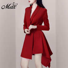 Max Spri 2019 New Arrival Vestidos Sexy Asymmetrical V Neck Full Sleeve Charming Women Party Office Lady Suit