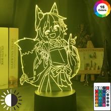 3d lâmpada útil raposa senko san figura nightlight mudança de cor usb bateria luz da noite para meninas quarto decoração luz holo