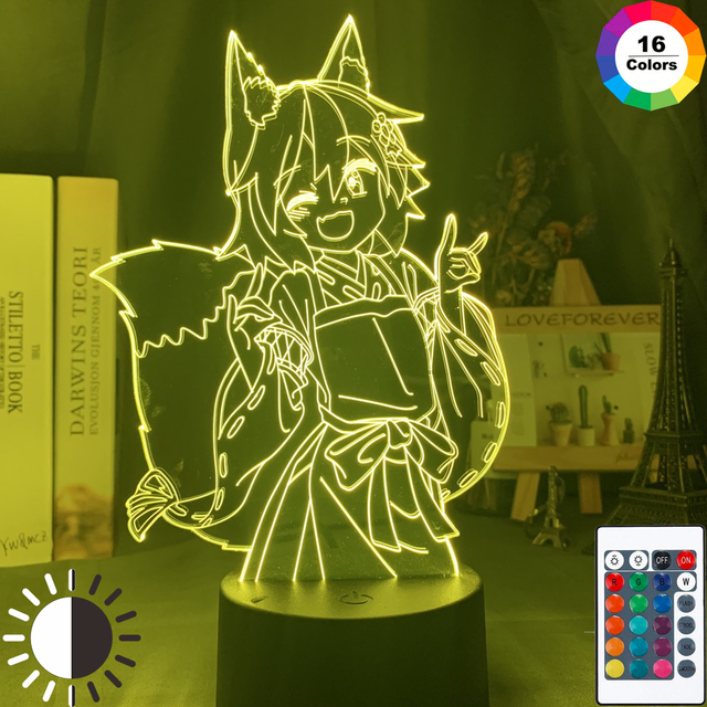 مصباح ثلاثية الأبعاد مفيدة الثعلب Senko سان الشكل ضوء الليل اللون تغيير Usb بطارية ضوء الليل للفتيات ديكور غرفة نوم ضوء هولو