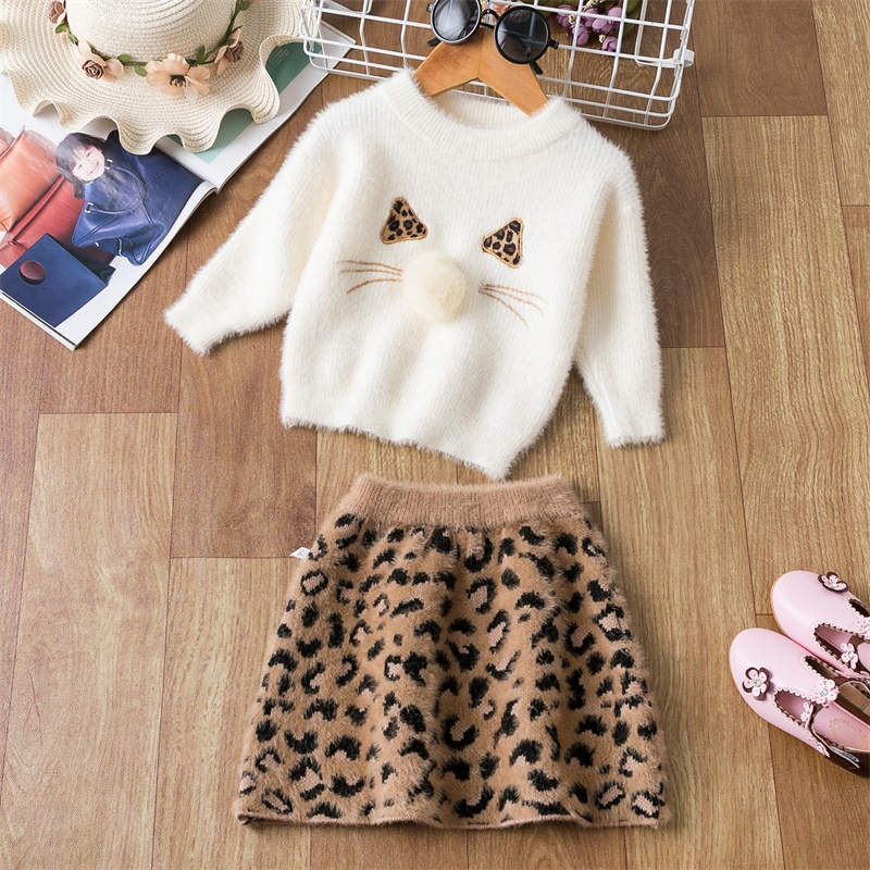 Winter Girls Clothes Set Cartoon Wools Sweater+ Leopard Printing A-Line Dress 2pcs Soft Kids Dresses For Girls Clothing Set
