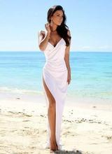 Сексуальное пляжное свадебное платье с v образным вырезом на