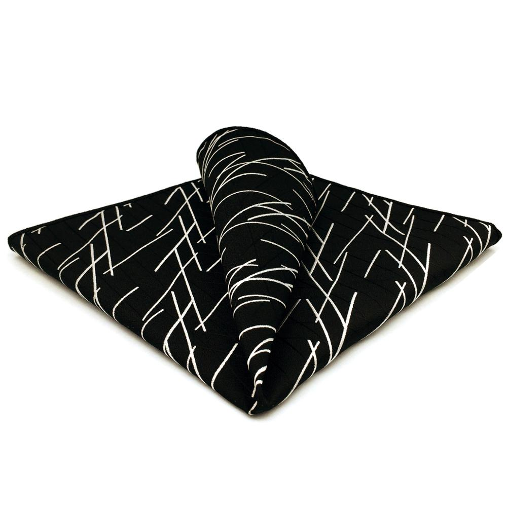 GH01 Black Geometric Mens Pocket Square Silk Business Hanky Fashion Wedding Handkerchief