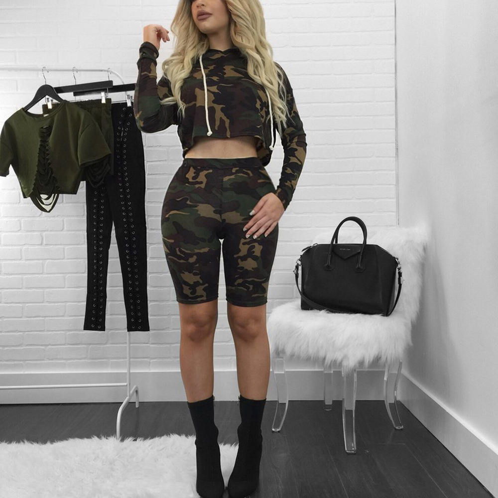 Cutubly Camouflage Female Casual Two Pieces Set Fu