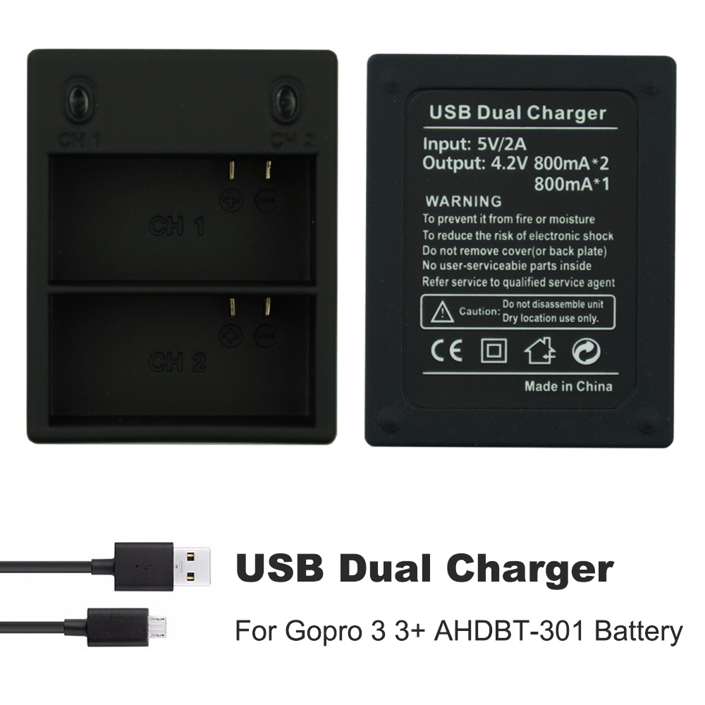 GoPro Hero 2 3 3 4 Black Silver Auto Battery Charger Caricabatterie per Auto