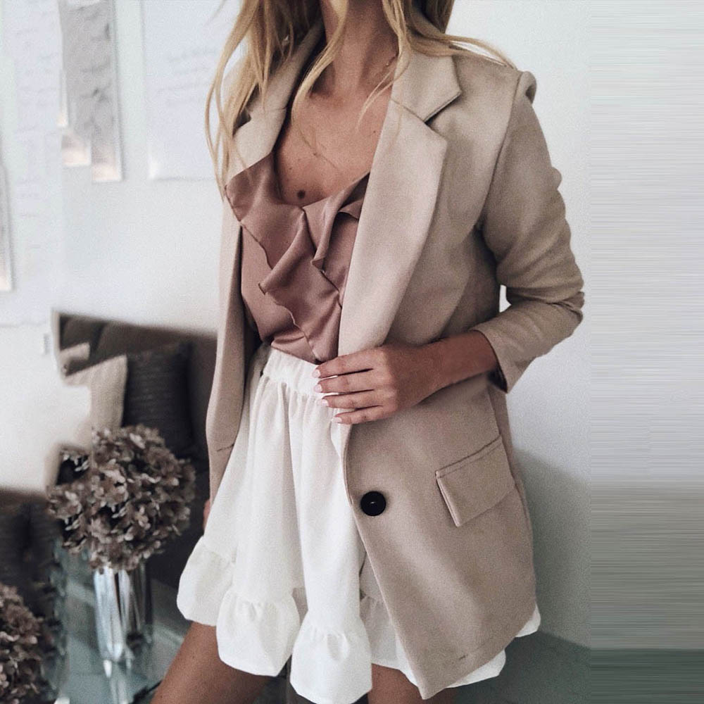 HEFLASHOR Casual Blazer Women Basic Notched Collar Solid Blazer Pockets Chic Tops Office Ladies Button Suit Jackets Plus Size