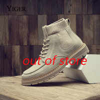 YIGER New Men Hosiery boots man martins boots Trend casual lae up autumn men's tooling boot male socks boots ankle boot 0384