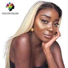 Touch Color T1B/613 Straight Lace Front Hair Wig 13x4 Blonde Brazilian Wigs Colored Human Closure
