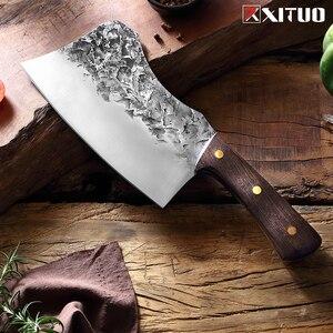 Image 2 - XITUO nóż rzeźnicki ręcznie kute stal wysokowęglowa chiński nóż szefa kuchni wołowina tasak ostre mięso siekanie ciężki nóż