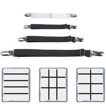 4 pièces/ensemble élastique drap de lit bande attache drap de lit pinces ceinture réglable matelas couverture couvertures support