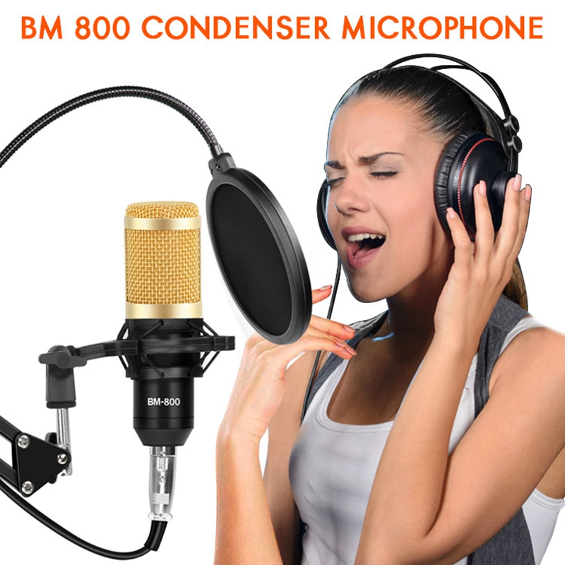 bm800 Studio Microphone Stand Kits Phantom Power Condenser Karaoke Microphone Bundle bm 800 Pop Filter For Computer bm-800 Mic image