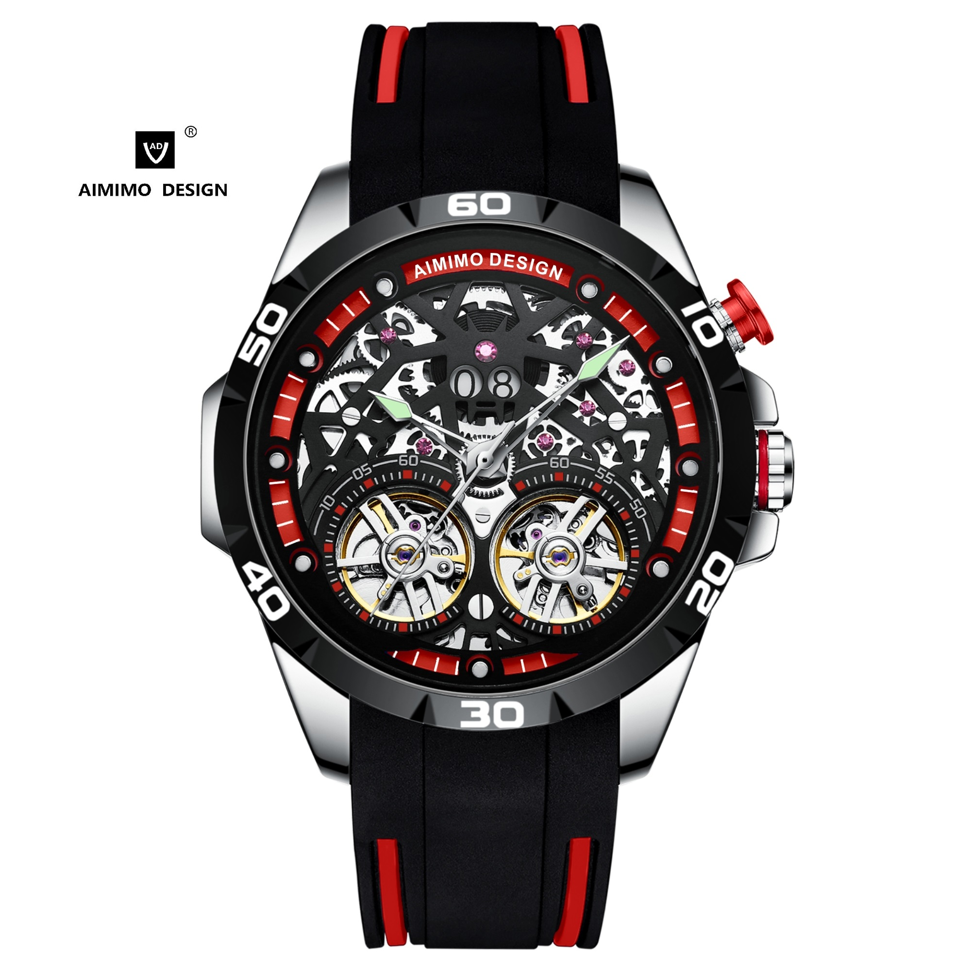 AIMIMO DESIGN Men`s Watch Silicon Mechanical Wristwatch Automatic Movement Sport Watches Skeleton Double Tourbillon Reloj Hombre