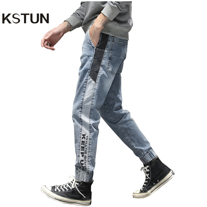KSTUN Mens Jeans 2020 Spring Light Blue Denim Pants Joggers Stretch Baggy Washed Side Patchwork Elastic Wiast Men Jeans Homme