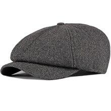 HT2737 Beret Cap Autumn Winter Hat Cap Men Striped Octagonal Newsboy Cap Male Thick Warm Men Beret Retro Ivy Flat Cap Wool Beret