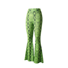 Fashion Snake Printing Flare Pants Elastic Waist Summer High Casual Womens 2019 New Flared Women